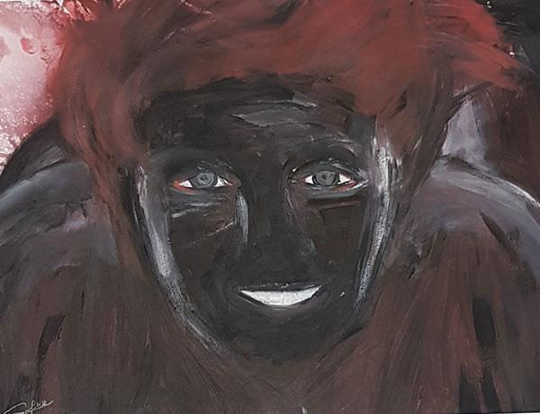 """Afrikanerin"" 2016 Acryl / Papier gerahmt 52/73"